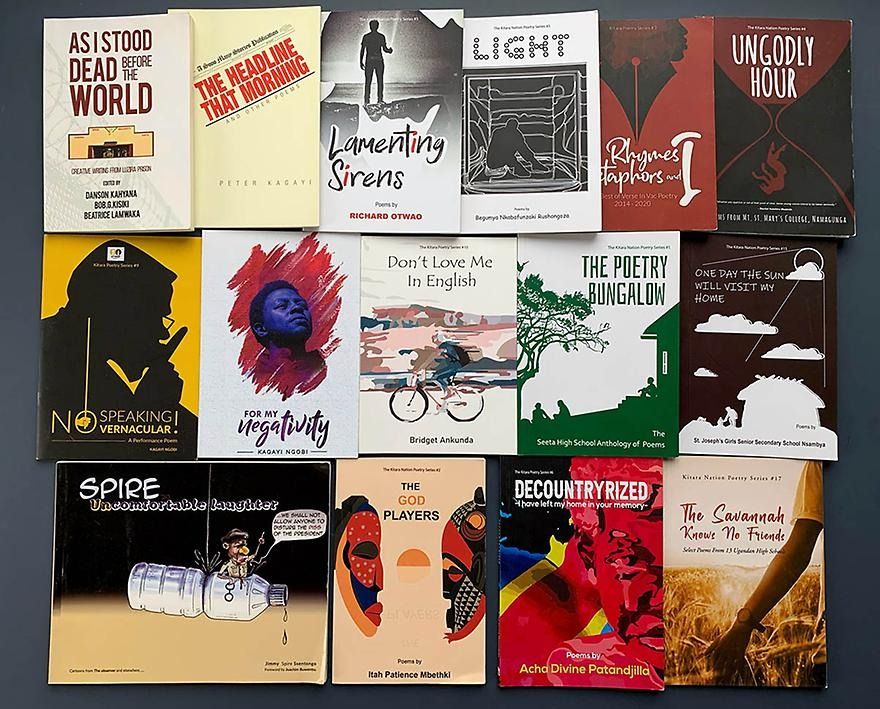 A collage of poetry books from Ugandan publishing house Kitara Nation.