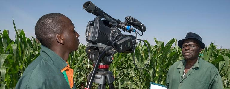 A journalist with film camera interviewing a man. Photographer: CIMMYT/ Peter Lowe