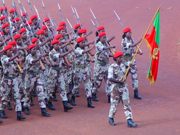 Female Eritrean soldiers marching in a parade.