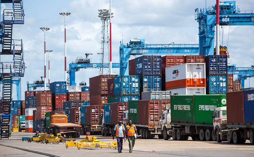 View of containers in the port of Mombasa in Kenya.