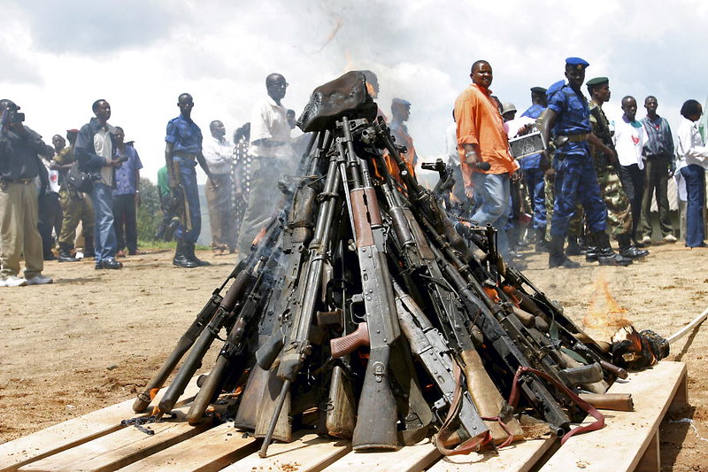 Weapons burnt during the official launch of the Disarmament, Demobilization, Rehabilitation and Reintegration (DDRR) process in Muramvya, Burundi, in 2004.