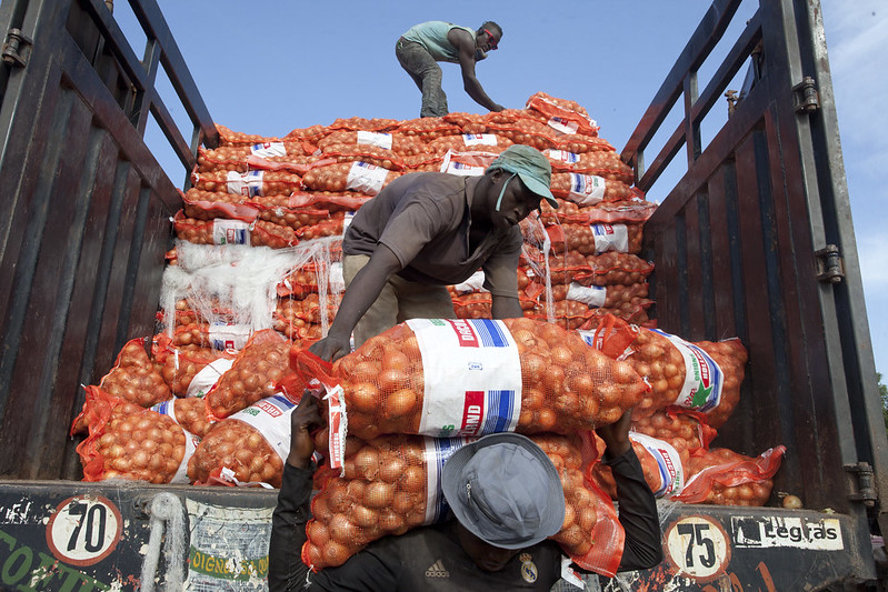 ExemplebUnloading sacks of onions in a farmers market in Bamako, Mali.ild