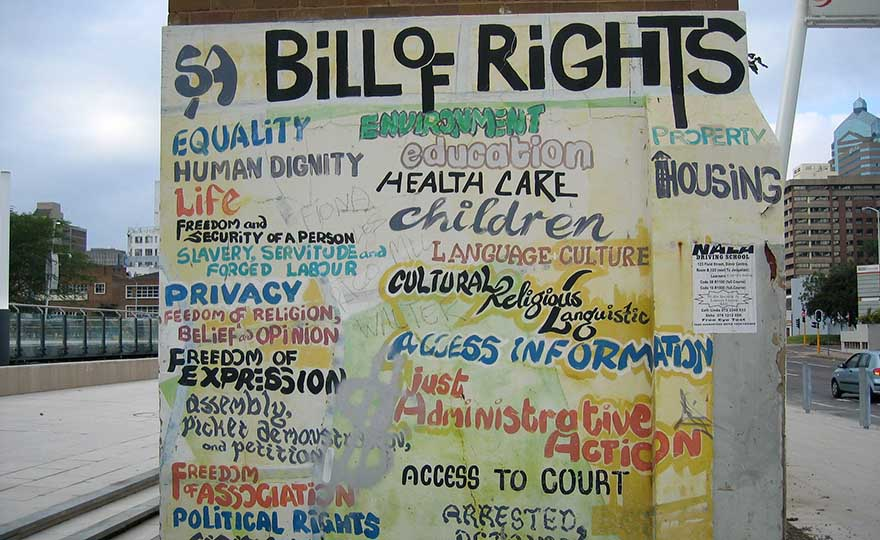 A mural wall with the Bill of rights text