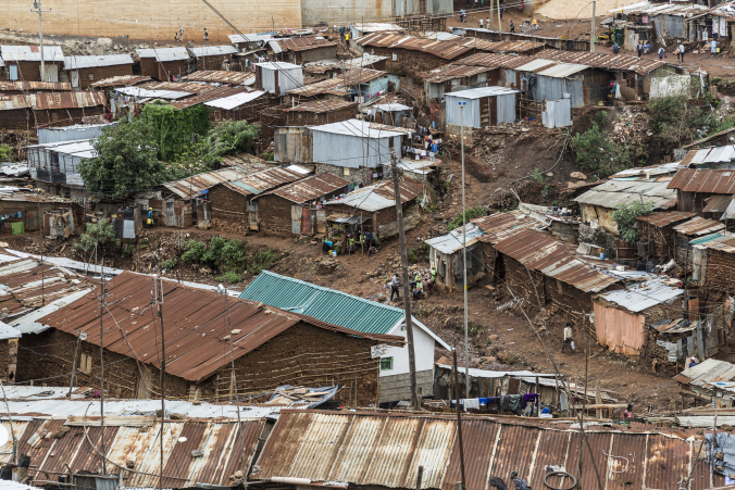 View from above of Nairobi slum housing area