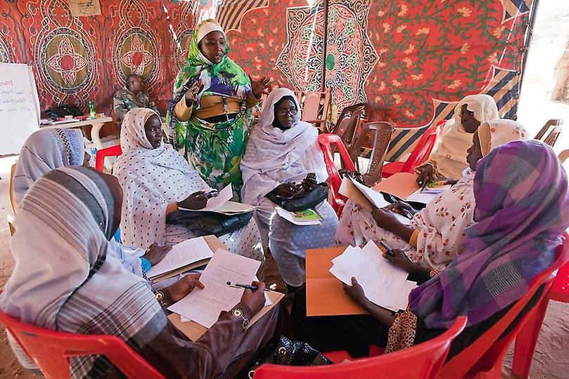 Women discussing in a group workshop in Malha North Darfur